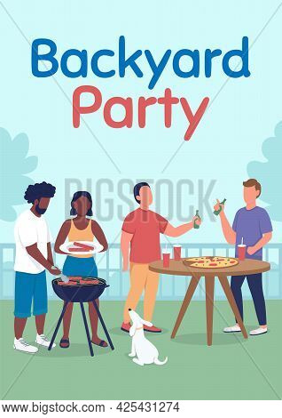 Backyard Party Poster Flat Vector Template. Friends At Bbq. Weekend Activity. Brochure, Booklet One