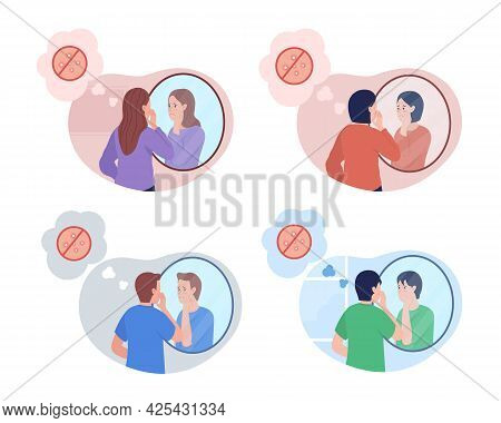 Teenager Acne Problem 2d Vector Isolated Illustration Set. Boy And Girl With Pimples In Front Of Mir