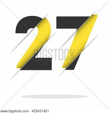 27 2 7 Number Logo Design With A Creative Cut And Black Circle Background. Creative Logo Design.