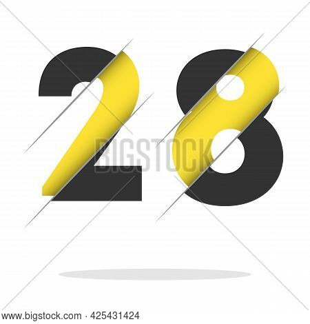28 2 8 Number Logo Design With A Creative Cut And Black Circle Background. Creative Logo Design.