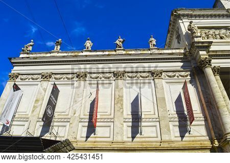 Rome, Italy - September 12, 2016 : Front Entrance To The Palazzo Delle Esposizioni Neoclassical Exhi