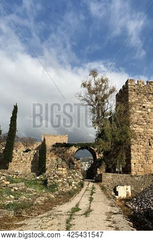 Ancient Ruins At The Crusader Castle In Byblos. Unesco World Heritage In Lebanon/