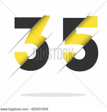 35 3 5 Number Logo Design With A Creative Cut And Black Circle Background. Creative Logo Design.