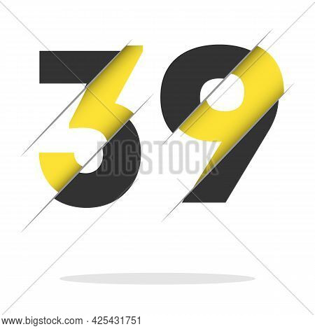 39 Black And Yellow Number Logo Design Cut In Half.