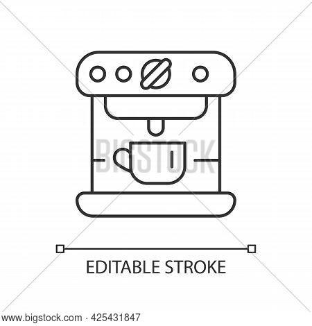 Espresso Machine Linear Icon. Commercial Appliance For Cafe. Barista Accessories. Thin Line Customiz