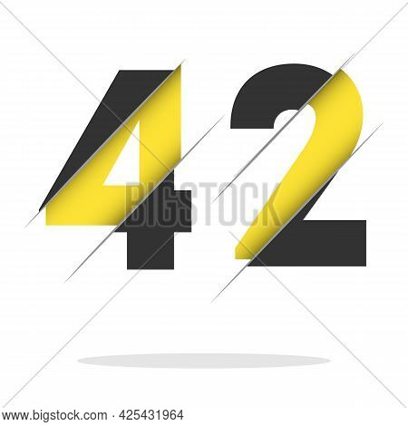 42 4 2 Number Logo Design With A Creative Cut And Black Circle Background. Creative Logo Design.