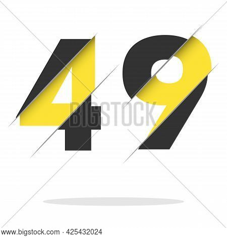 49 4 9 Number Logo Design With A Creative Cut And Black Circle Background. Creative Logo Design.