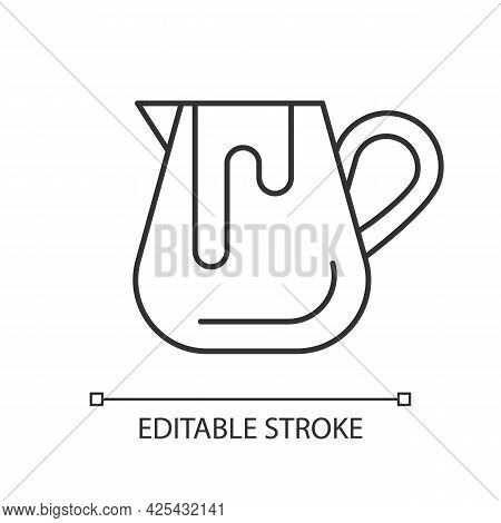 Milk Jug Linear Icon. Pitcher For Professional Latte Art. Barista Accessories. Thin Line Customizabl