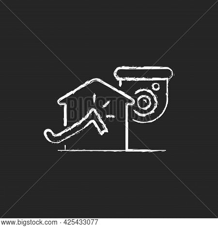 Avoiding House Intrusion With Cctv System Chalk White Icon On Dark Background. Burglaries Prevention