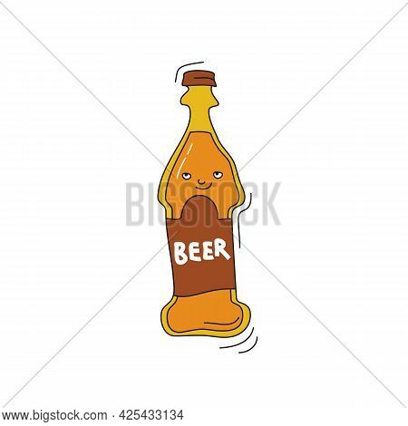 Beer With Smile On White Background. Cartoon Sketch Graphic Design. Doodle Style With Black Contour