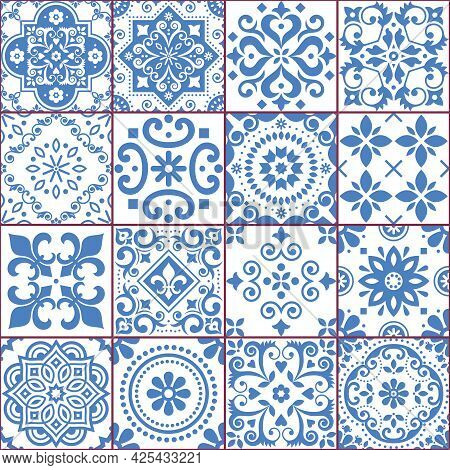 Portuguese And Spanish Azulejo Tiles Seamless Vector Pattern Collection In Blue And White, Tradition