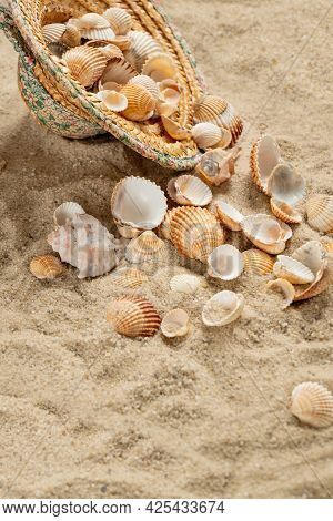Straw Hat Filled With Shells Collected On The Shore  Thrown On The Sandy Beach