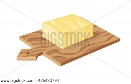 Margarine Or Spread, Natural Dairy Product. Vector Brick Of Butter On Wooden Board. High-calorie Foo