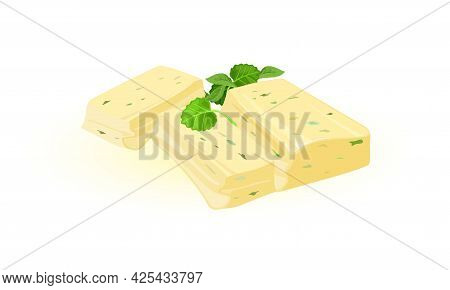 Pieces Of Butter With Spinach And Basil. Vector Bricks Of Butter With Leaves Of Greens. Tasty Snack