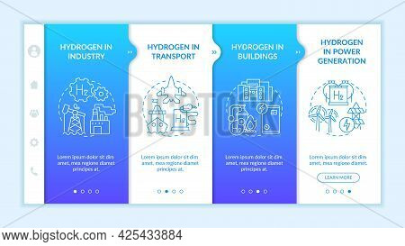 Hydrogen Consumption Onboarding Vector Template. Responsive Mobile Website With Icons. Web Page Walk