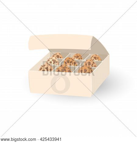 Fresh Quail Eggs In Paper Box, Organic Farm Product, Raw Ingredient For Further Cooking. Vector Diet