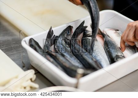 Close-up Of Several Fishes Lying In A Row At White Box