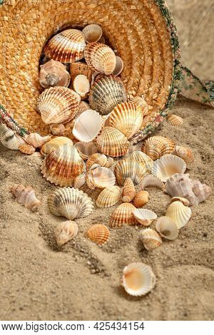 Seashells Scatter From Straw Hat Abandoned On Sandy Beach