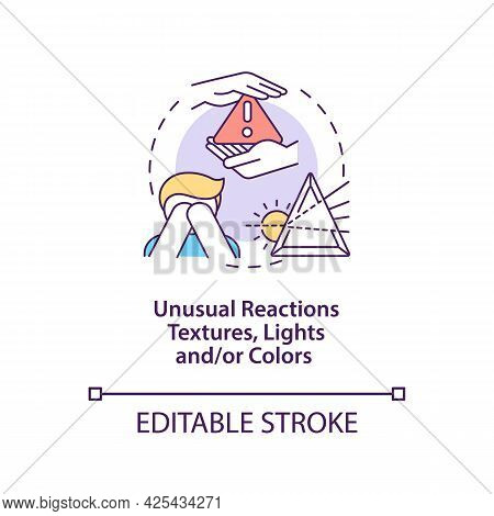 Sensory Issues In Autism Concept Icon. Autism Symptom Abstract Idea Thin Line Illustration. Unusual