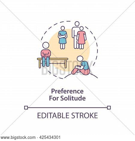 Preference For Solitude In Autism Concept Icon. Autism Sign Abstract Idea Thin Line Illustration. Lo