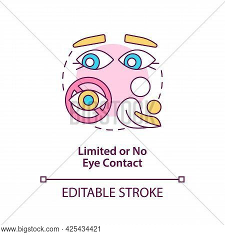 Limited And No Eye Contact Concept Icon. Autism Sign In Kids Abstract Idea Thin Line Illustration. A