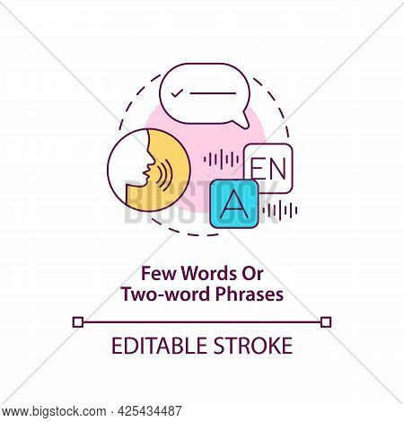 Few Words And Two-word Phrases Concept Icon. Autism Sign In Kids Abstract Idea Thin Line Illustratio