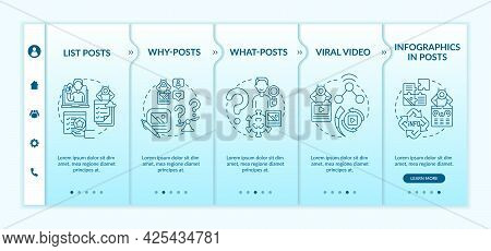Top Engaging Posts Types Onboarding Vector Template. Responsive Mobile Website With Icons. Web Page