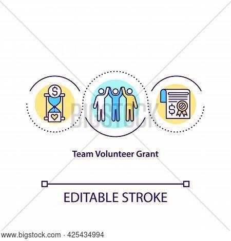 Team Volunteer Grant Concept Icon. Non Profit Organizations. Charity Company. No Financial Purpose I