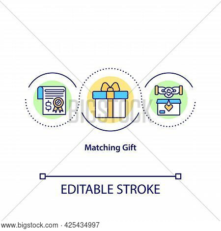 Matching Gift Concept Icon. Giving Money To Charity Organizations. Valuable Present. Fund Increase.