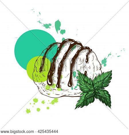 One Scoop Of Ice Cream With Mint Flavor. Vector Sketch Of One Ice Cream Ball With Sauce, Mint Leaves