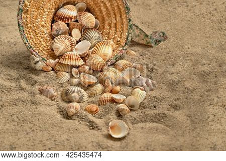 Shells Spilled Out Of Straw Hat Thrown On Sandy Beach