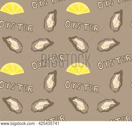 Seamless Pattern With Fresh Oysters Shell And Lemon. Vector Package, Banner, Cover, Wrapping Paper T
