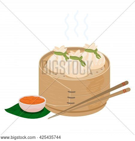 Dimsum Chinese Dumplings In Bamboo Steamer Basket. Vector Icon Isolated On White
