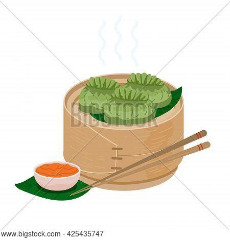 Homemade Chinese Cuisine Steamed Baozi With Bamboo Steamer. Green Dumplings In Bamboo Basket. Vector