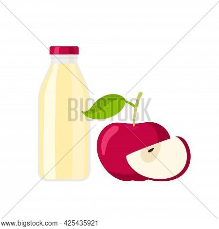 Red Lid Juice Bottle And Red Apple. Flat Icon Red Apple Fruit With Leaf And Yellow Beverage Containe