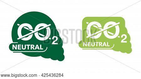 Co2 Neutral Green Flat Sticker, Net Zero Carbon Dioxyde Footprint - Carbon Emissions Free No Air Atm