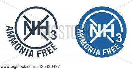 Ammonia Free Colour Flat Circular Emblem - For Non-ammonia Hair Dye. Vector Emblem