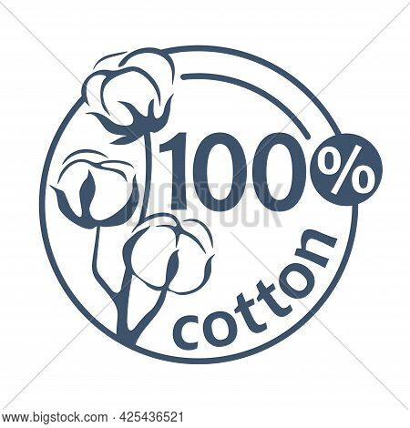 100 Cotton Flat Stamp. Hundred Percents Natural Material Of Textile - Badge For Natural Breathable T