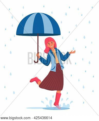 Smiling Girl With Pink Hair Jumps Through Puddles. A Girl In A Blue Jacket, Brown Skirt And Pink Rub