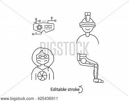 Cyberpunk Outline Icons Set. Futuristic People. Exoskeleton On Leg. Bio-robot Gadgets. Customizable
