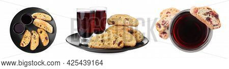 Set With Tasty Cantucci And Glasses Of Liqueur On White Background, Banner Design. Traditional Itali