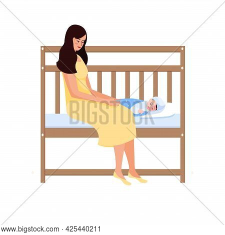 A Woman Is Sitting On Her Child S Bed. She Looks At Her Child And Smiles. The Long-awaited Baby. Vec