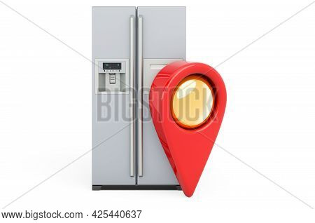 Map Pointer And Fridge With Side-by-side Door System. 3d Rendering Isolated On White Background