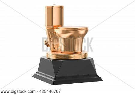 Toilet Bowl Golden Award Concept. 3d Rendering Isolated On White Background