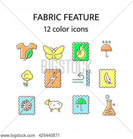 Fabric Feature Flat Icon. Material Quality. Fiber Type. Textile Industry. Organic Cotton And Wool. I