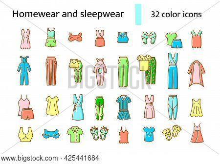 Homewear And Sleepwear Flat Icons Set. Comfortable Clothes. Comfy Garment. Bathrobe, Domestic Dress.