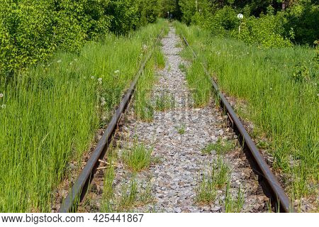 Old Railway Tracks With Gravel Overgrown With Grass
