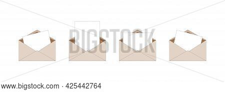Set Simple Brown Paper Isolated Envelopes With Letter Inside. Can Be Used As Stickers, Icons, Mockup