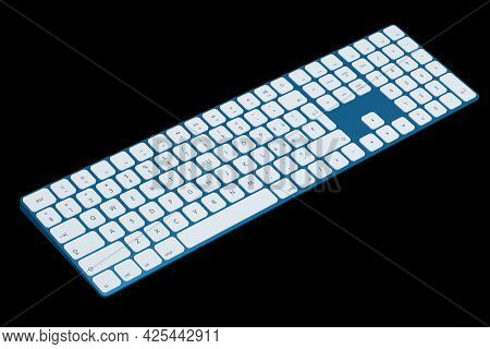 Modern Blue Aluminum Computer Keyboard Isolated On Black Background.