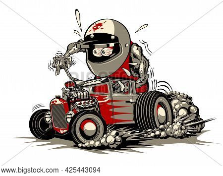 Cartoon Retro Rat Rod. Available Eps-8 Vector Format Separated By Groups And Layers For Easy Edit